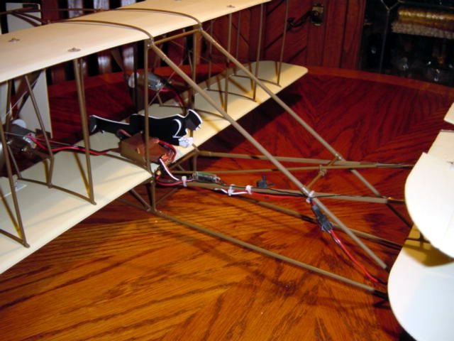 Finished plane ready to fly. Because of short wire lengths I couldn't mount the speed controller as shown in the instructions.