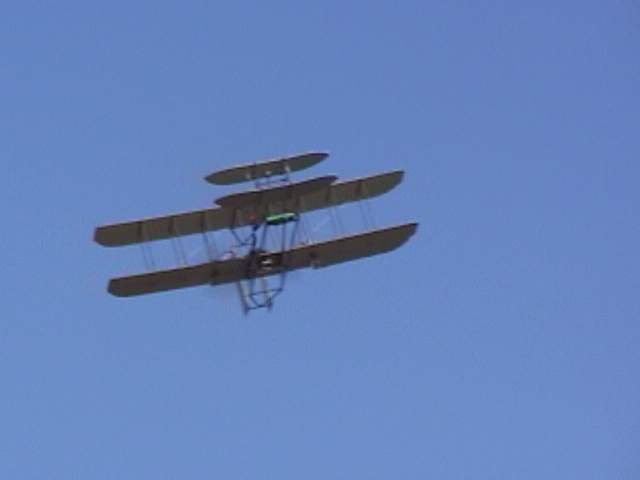 Coming at you, a Wright Flyer with altitude.