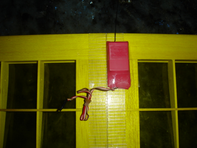 Here is the transmitter taped to the bottom of the Brummi wing.