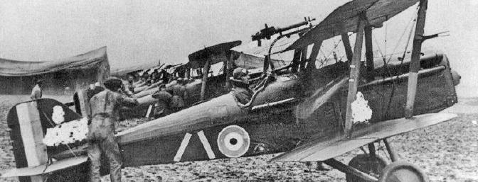S.E.5a ready for action with Lewis machine gun on the top wing. Note how little rudder clearance there was from the ground on the real plane!