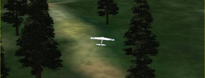 Flying through the trees with the Electro-Streak in the hills above the RealFlight Ranch using the Chase view.