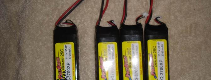 The four 3700 mAh Hobby Lobby Polyquest packs with Deans Ultra connectors.