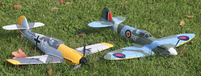 The Airium Bf-109 and Spitfire make a great pair for friends to fly together.