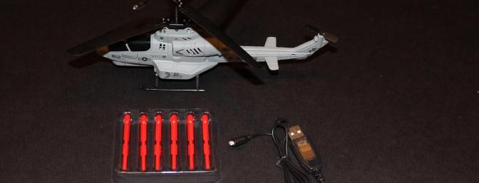 The helicopter, USB cable, 6 missiles and spare blades