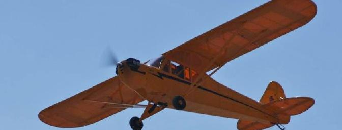 The Horizon Hobby Hangar 9, 1/4 scale Cub with a 110 E-flite Power motor was my test plane for two 14.8V 5,000mAh battery packs wired in parallel.