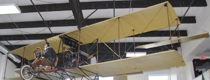 The fully restored Curtis Jenny that flew from downtown Portland off of a hotel roof to Vancouver Washington.