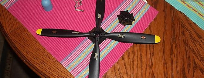 The propeller blades are mounted into the propeller mount using one screw per blade.