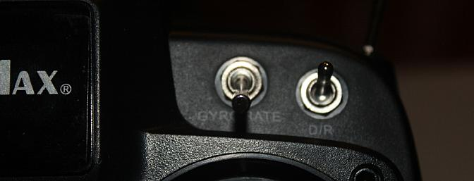 The left switch of these two switches is the gyro gain and allows for heading hold and non-heading hold as described above.
