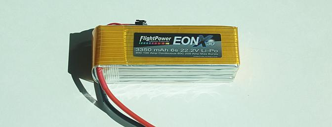 The FlightPower EONX30 6S 22.2V 3350mAh LiPo Flight pack battery, part # FPWP6358