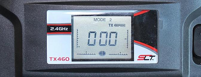 With both half circles on the bottom of the screen darkened the transmitter is on high rates.