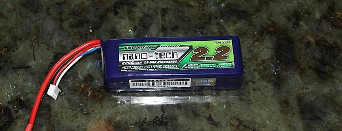 The recommended Turnigy 2200mAh 25C 3S LiPo battery pack