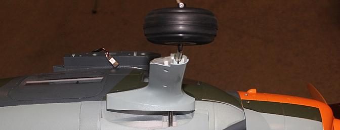 Trial fitting in one of the landing gear mounts.