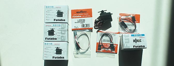 The four Futaba servos and the servo extension wires and Y-harness