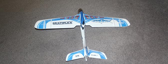 The assembled plane as viewed from the tail.