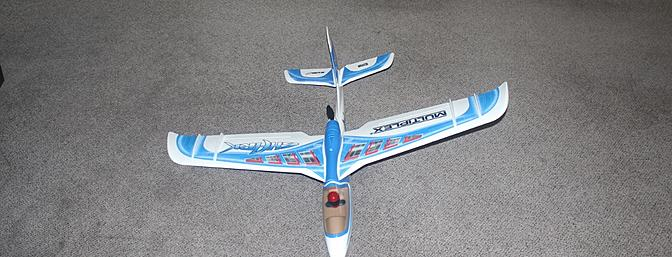 The assembled plane as seen from the nose.