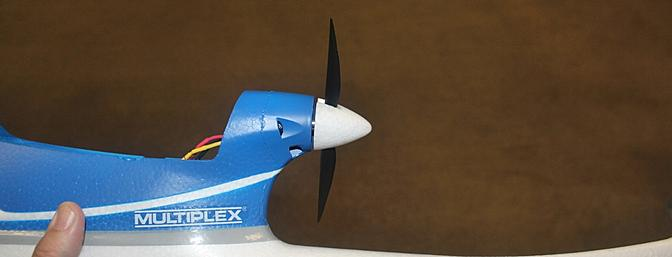 Side view of the motor, prop, spinner and fuselage