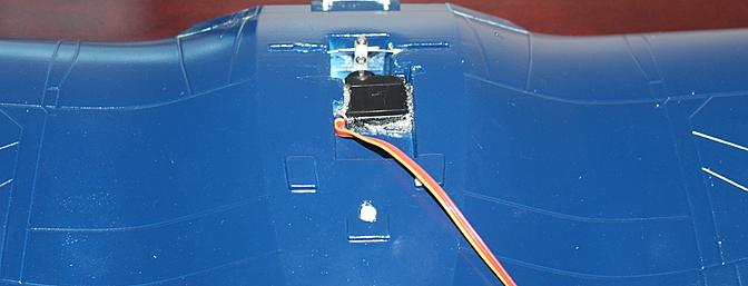 The aileron servo came installed in the one piece wing.