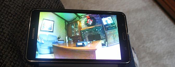 The FPV image indoors using Wi-Fi.