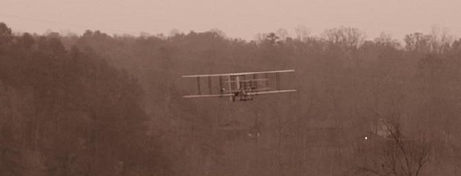 1905 or 2003? This is JAH's plane in flight with a picture taken using the Sepia setting on his camera.