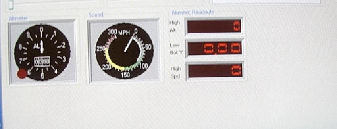 There are both circular and numeric gauges for the speed and altitude data.