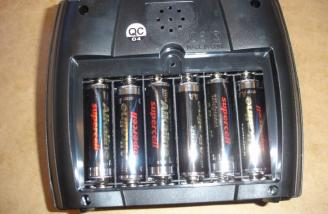The six batteries in one of the transmitters.