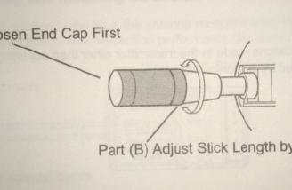 The stick length can be adjusted as shown in this picture from the manual.