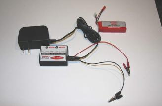 Here we have the wall powered voltage adaptor, the 12-volt charger and the 3-cell 800mAh Lipoly battery pack.