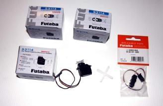 4 Futaba S3114 servos and a J series dual servo extension cord.