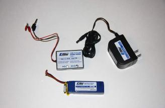 The adapter, the charger and the 3-cell Lipo battery ready to connect to each other