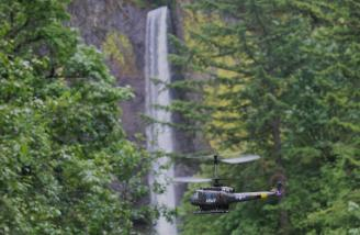 Flying at Latourell Falls in the Columbia River Gorge