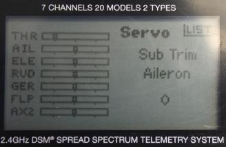 This is screen for programming the servo sub trims.