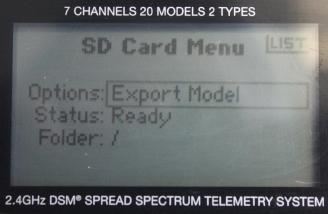 This screen lets me export a model program from the SD card.