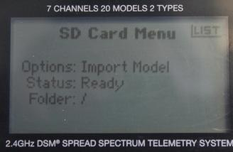 From this screen I can import a saved model program to the card and from there to my computer or another transmitter.