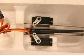 This is how the tail servos arrived with control rods that were a little long and needed trimming (at the servo) for my Standard Tail version.
