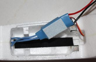 I used the supplied Velcro like material to secure the ESC to the side of the fuselage in the cockpit area.