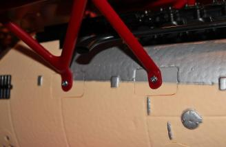 With the Cabane struts secured in the L bracket the struts were secured to each side of the fuselage with two screws.