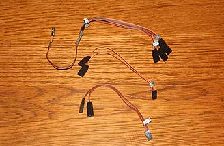 Servo extension wires for flaps, ailerons and lights, along with sequencer for landing gear and doors.