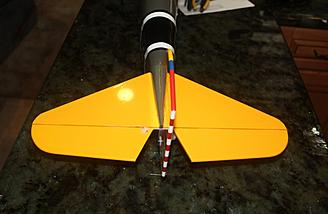 The installed tail surfaces and controls as seen from behind.