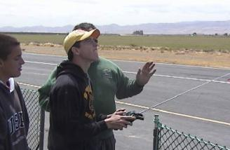 Jeff instructing Andy during Andy's first flight.