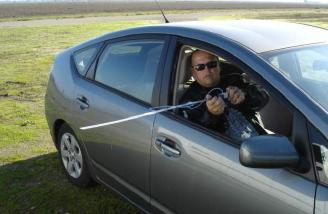 Jeff Hunter holding my speed test equipment.