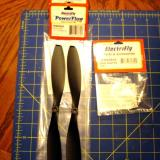ElectriFly Powerflow 10 x 4.5 props come two to a package. The prop adaptor is 3mm and is also from ElectriFly.