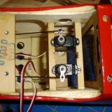 The rudder and elevator servos installed and connected.