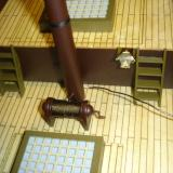 The first carriage light installed and the receiver antenna made mostly black with magic marker.