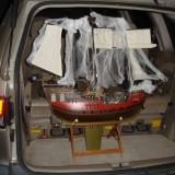 The ship comes with this working stand to use when the weighted keel has been attached for operation. Here it is in the back of my wife's van.