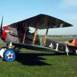 The plane is painted in the colors of the one flown by Eddie Rickenbacker, America's top ace of WWI with 26 kills.