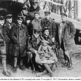 The Red Baron in his red Albatros D.III in April 1917 with pilots of Jasta 11. He scored 21 kills that month.