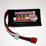 3-cell 11.1V 850 mAh 30C battery with Dean Connector and balance tabs for charging.