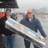 Dan Landis from Hobbico with RCGroups member, Wyldkrd, the happy raffle winner of the RTF Corsair.