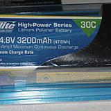 The recommended E-flite battery pack: 3200mAh 4S 30C Li-Po