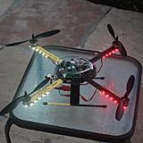 My quadcopter equipped with two strips of red and two of clear/white LEDs.